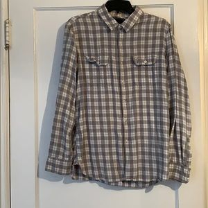 Men's gray and white plaid flannel, by Obey.